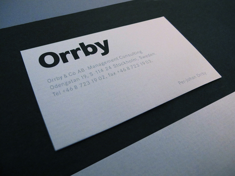 Orrby Management, Business card